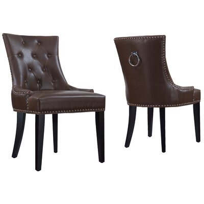 House of Hampton Villeroux Leather Side Chair (Set of 2)
