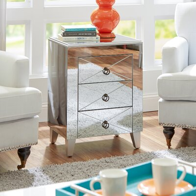 House of Hampton Almandine Mirrored 3 Drawer Side Table