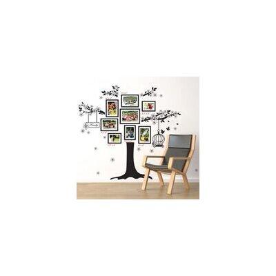 Walplus Black Photo Frame Tree with Birdcage Wall Sticker