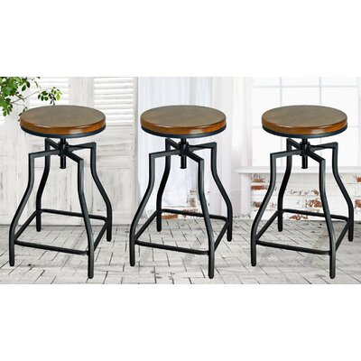 eHemco Adjustable Height Swivel Bar Stool (Set of 3)