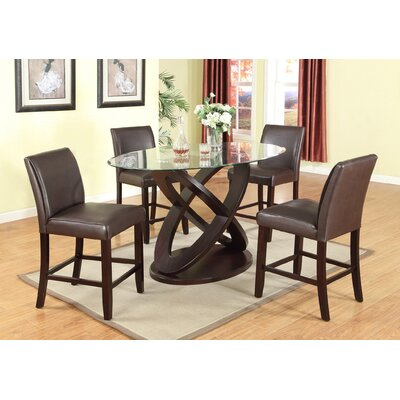 Roundhill Furniture Cicicol 5 Piece Counter Height Dining Set
