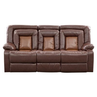 Roundhill Furniture Kmax 2-Toned Vinyl Dual Reclining Sofa