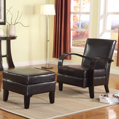 Roundhill Furniture Wonda Bonded Leather Arm Chair with Ottoman
