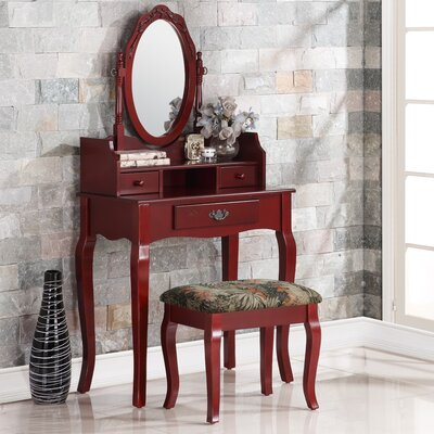 Roundhill Furniture Ribbon Wood Makeup Vanity Se..