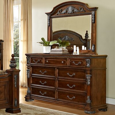 Fairfax Home Collections Orleans 9 Drawer Dresser with Mirror