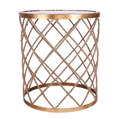 Zuhaus Halifax Rope Wrapped Mirrored End Table