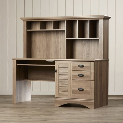 Beachcrest Home Pinellas Computer Desk with Hutch & 3 Storage Drawers Image