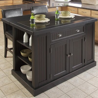 Breakwater Bay Gouldsboro 3 Piece Kitchen Island Set with Granite Top