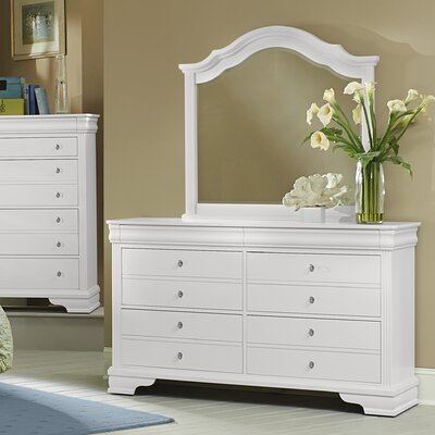 Virginia House French Market 6 Drawer Double Dresser with Mirror