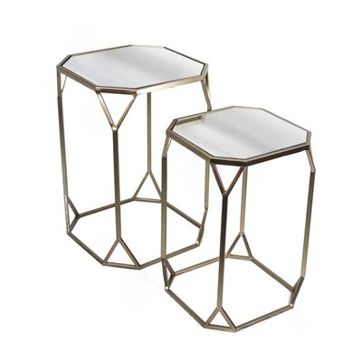 Sagebrook Home 2 Piece Metal & Mirror End Table Set