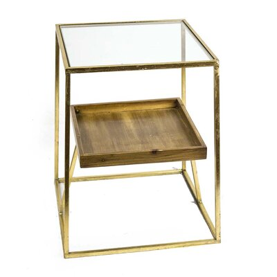 Sagebrook Home Metal & Glass & Wooden End Table