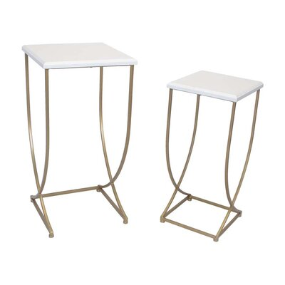 Sagebrook Home 2 Piece Metal End Table Set