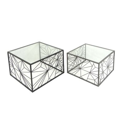 Sagebrook Home 2 Piece Metal & Glass End Table Set