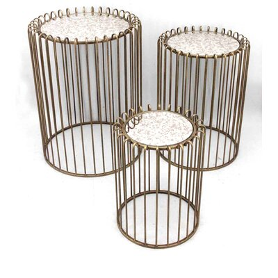 Sagebrook Home 3 Piece Metal End Table Set