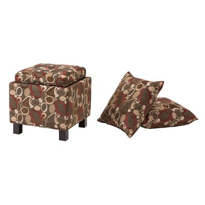 Madison Park Shelley Square Storage Ottoman in Geometric Brown