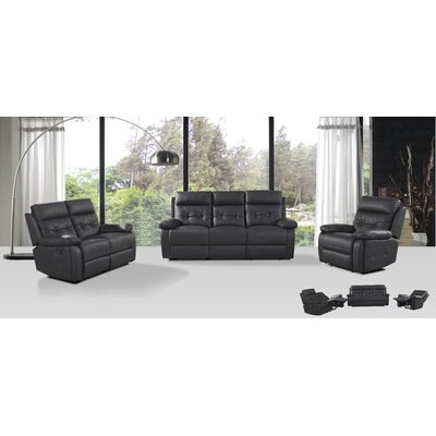 Attraction Design Home 3 Piece Leather Living Room Set