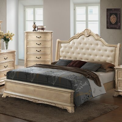 Rosalind Wheeler Barrell Upholstered Panel Bed