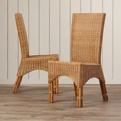 Bay Isle Home Staples Rattan Dining Chair with Rattan Pole Legs (Set of 2)