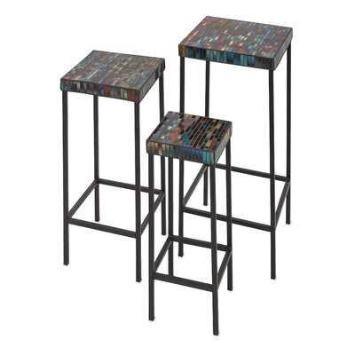 World Menagerie Vikram 3 Piece Glass Tables Set