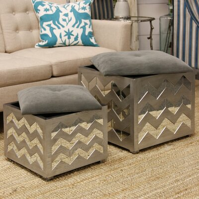 Mercer41 Byzantium Chevron Pattern Mirrored Nesting Ottoman