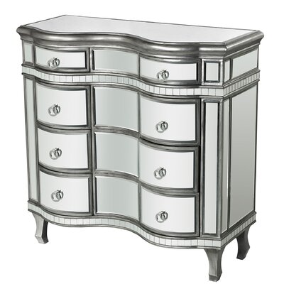 Mercer41 Aphan Curved Mirror 8 Drawer Chest
