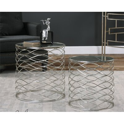 Mercer41 Irving 2 Piece Iron Cage End Table Set