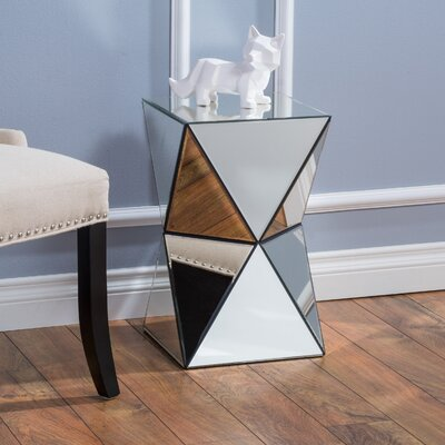Mercer41 Eisenberg Mirrored Accent End Table