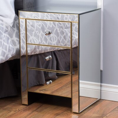 Mercer41 Carrero 3 Drawer Mirrored End Table