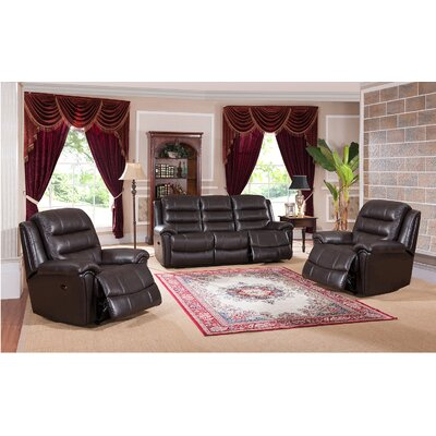 Amax Astoria 3 Piece Leather Living Room Set