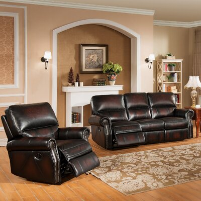 Amax Nevada 2 Piece Leather Living Room Set