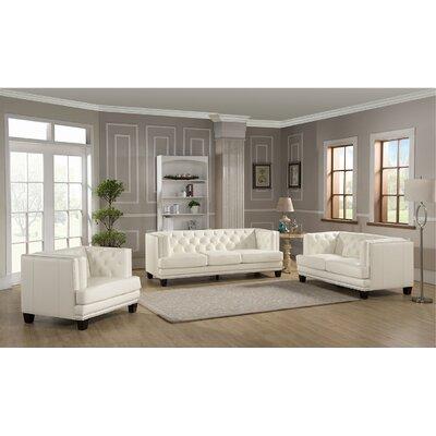 Amax Newport 3 Piece Leather Living Room Set