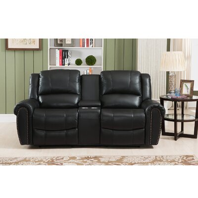 Amax Houston Leather Reclining Loveseat