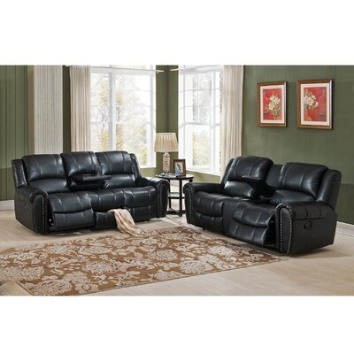 Amax Houston 2 Piece Leather Living Room Set