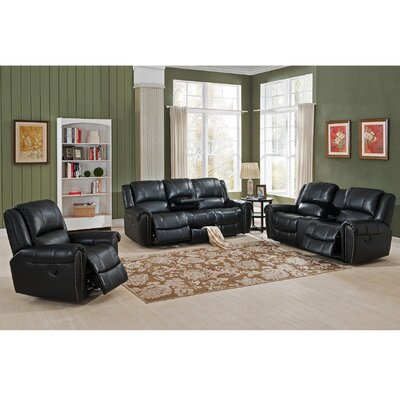 Amax Houston 3 Piece Leather Recliner Living Room Set