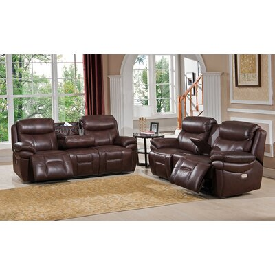 Amax Sanford 2 Piece Leather Power Reclining Living Room Set with Power Headrests and Drop Down Table