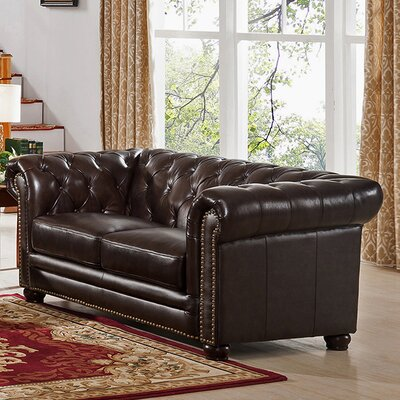 Amax Kensington Top Grain Leather Chesterfield Loveseat