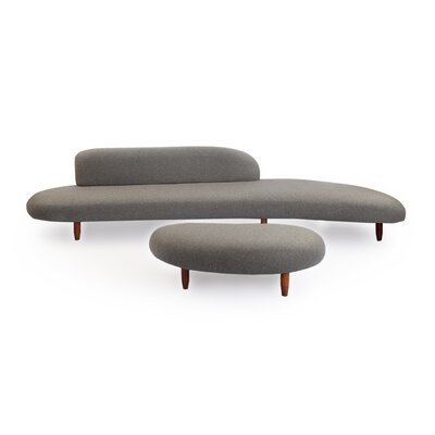 Kardiel Kidney Bean Mid Century Modern Sofa and Ottoman Set