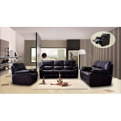 Living In Style Orleans 3 Piece Printed Leather Fabric Living Room Set