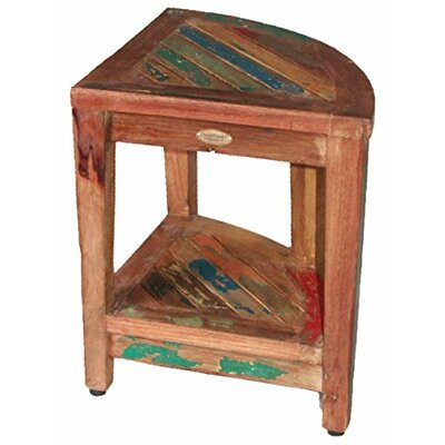 EcoDecors Oasis Recycled Reclaimed Salvaged Boat Wood Corner Table Bench