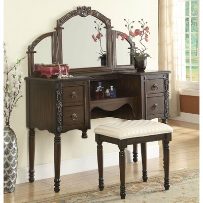 Infini Furnishings Makeup Vanity Set with Mi..