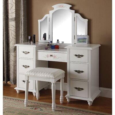 Infini Furnishings Makeup Vanity Set with Mirror