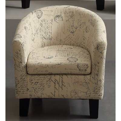 iNSTANT HOME Florino Artistic Script Barrel Chair