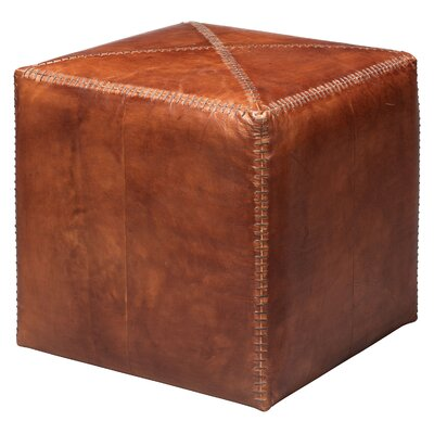Canora Grey Gustavus Small Leather Cube Ottoman