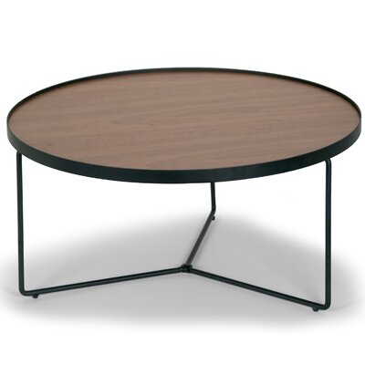 Glamour Home Decor Ailsa Rimmed Round Wooden Coffee Table