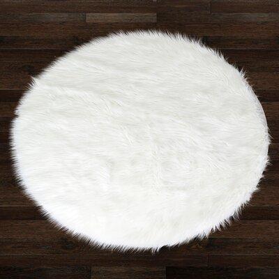 glamour home decor alair white round faux fur area rug & reviews