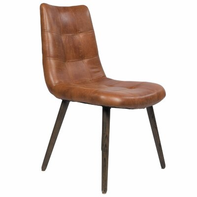 Joseph allen alamo side chair wayfair for Tufted leather dining room chairs
