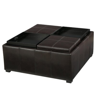 Latitude Run Cube Shaped Faux Leather Tray Top Ottoman