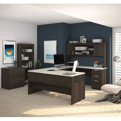 Latitude Run Barts Computer Desk with Lateral File and Bookcase