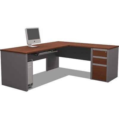 Latitude Run Karla L-Shape Computer Desk with Pedstal