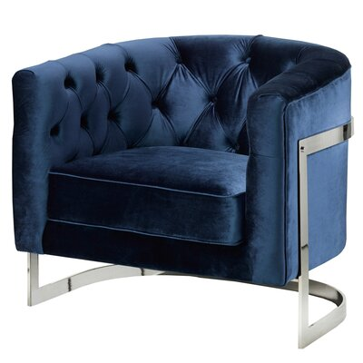 Home Gear Stainless Steel Frame Tufted Club Chair